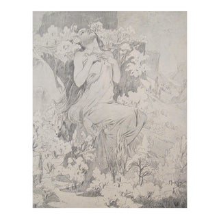 1899 Cocorico Mucha Calendar Illustration, May (Matted)