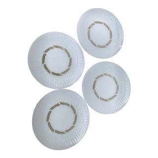 Federal Milk Glass Golden Harvest Plates - Set of 4 For Sale