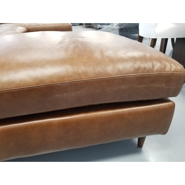 Brown Leather U-Shaped Sectional Sofa For Sale In Los Angeles - Image 6 of 8