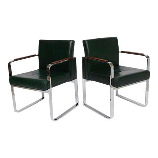 1940s Mid-Century Modern Green Leather Chrome Armchairs - a Pair