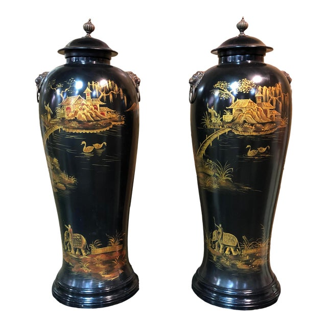 Vintage Chinoiserie Painted Lidded Urns - a Pair For Sale