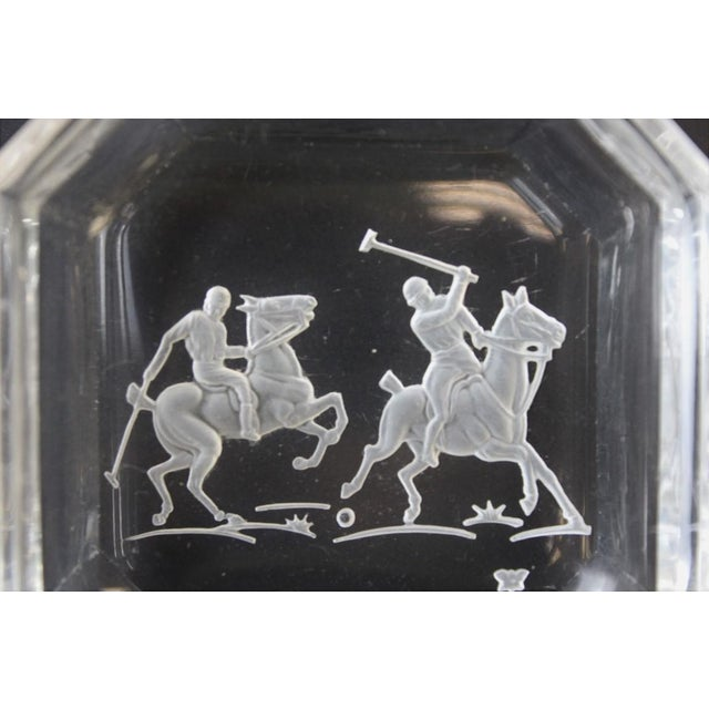 """Octagonal James II Baccarat Crystal """"Polo Player"""" Ashtrays - A Pair - Image 3 of 4"""