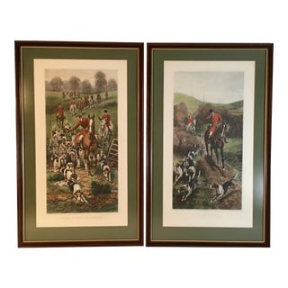 Antique Framed English Hunting Prints - a Pair