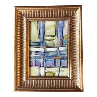 "Contemporary Original Stephen Heigh ""Town & Country"" Small Abstract Painting Framed For Sale"