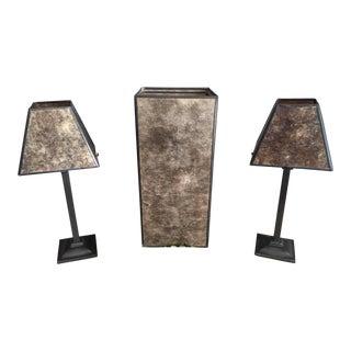 Restoration Hardware Genuine Mica & Metal Candleholders - set of 3 For Sale