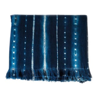 Tensira Indigo Stripes & Dots Cotton Throw Blanket