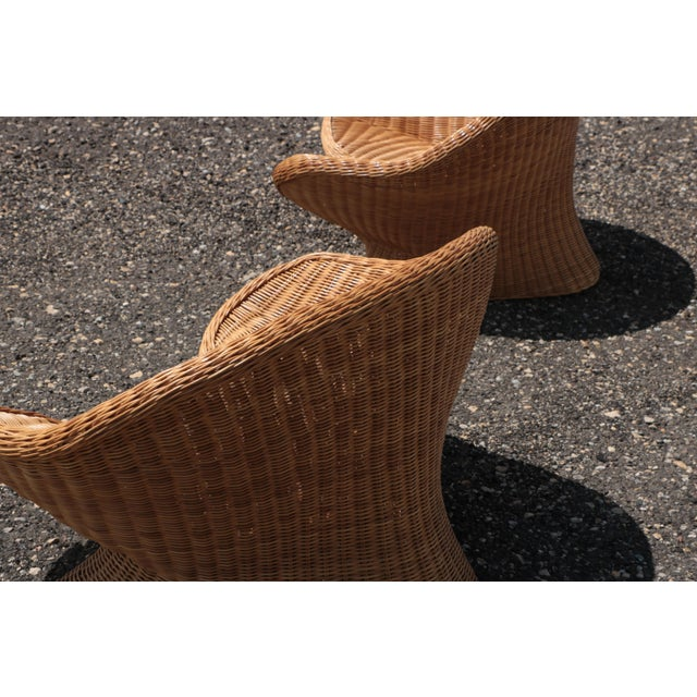 Wicker Wicker Low Lounge Chairs - a Pair For Sale - Image 7 of 13