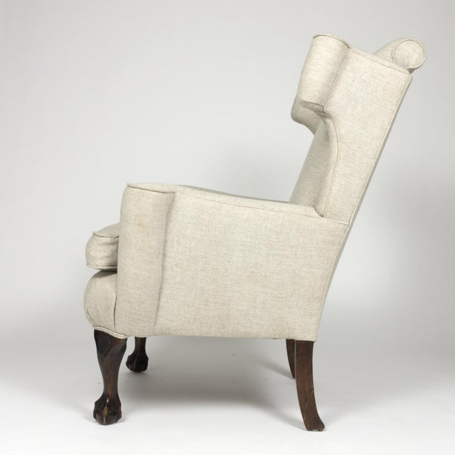 Large Scale English Wing Chair With Mahogany Frame, Carved Mahogany Ball And Claw Feet, Circa 1870 For Sale In San Francisco - Image 6 of 13