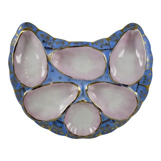 Porcelain Crescent Shape Gilded Periwinkle Hand-Painted Oyster Plate