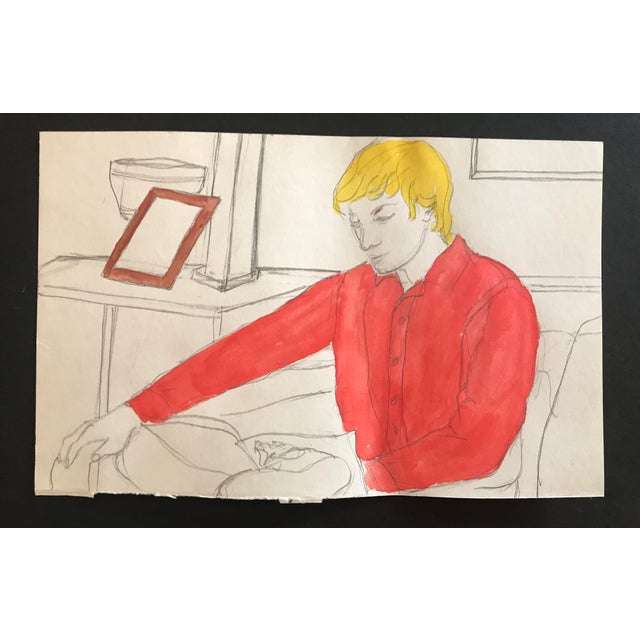 Contemporary 1980s Inga-Britta Mills Man in Red Shirt Portrait Drawing For Sale - Image 3 of 3