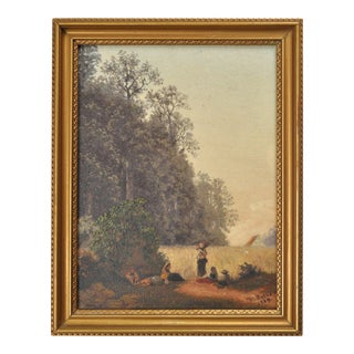 """1889 """"Women Sitting in Field"""" Figurative Plein Air Painting by W. Colle, Framed For Sale"""