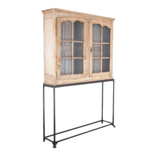 1920s French Oak Vitrine on Stand
