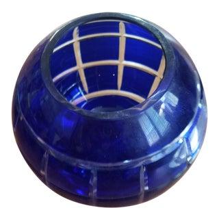 Antique Czech Blue Bohemien Crystal Candle Holder For Sale