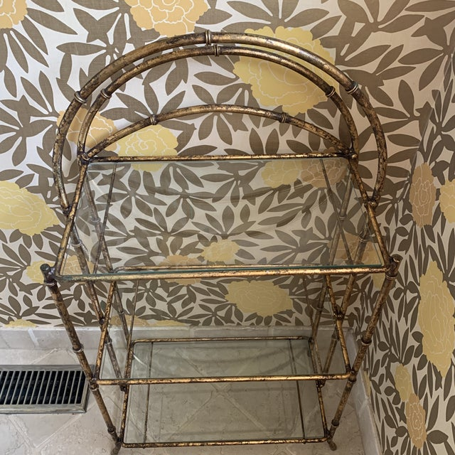 Gilt Metal Faux Bamboo Etagere For Sale - Image 10 of 12