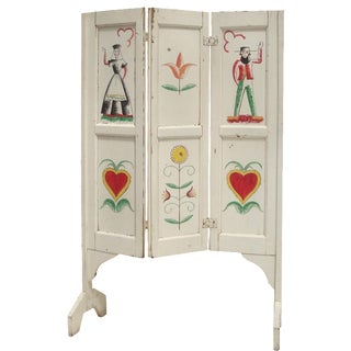 Handpainted Folk Art Fireplace Hearth Screen For Sale
