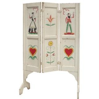 Handpainted Folk Art Fireplace Hearth Screen For Sale