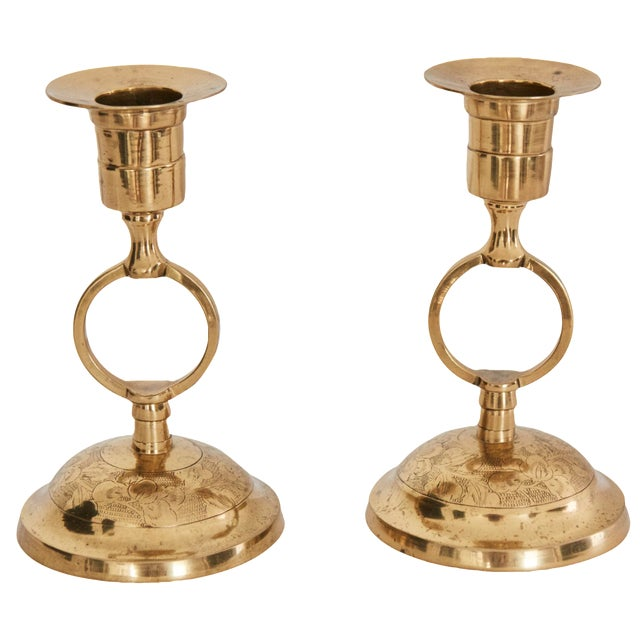 Filigree Polished Brass Candlesticks - A Pair - Image 1 of 5