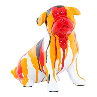 "Interior Illusions Plus Bulldog Sitting Splatter Art Dog - 7.5"" tall For Sale"