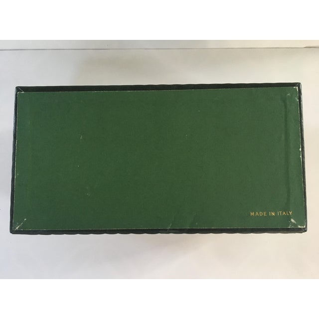 1950s Vintage Italian Quilted Green Card / Game Box For Sale - Image 11 of 13