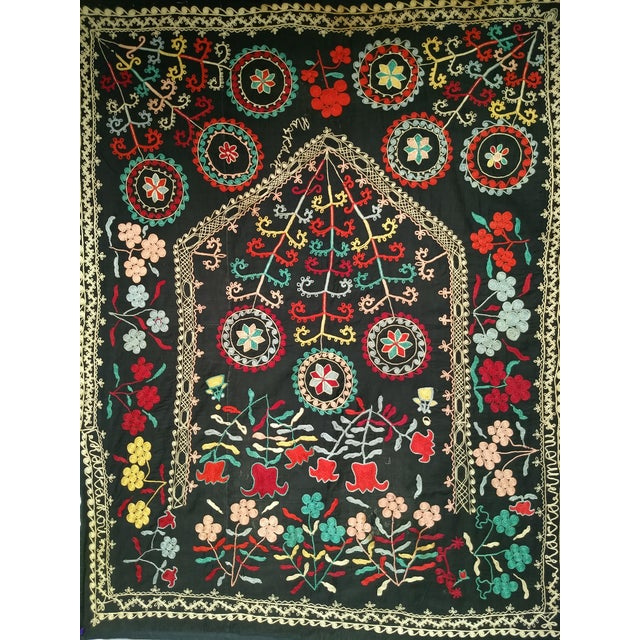 A beautiful hand-stitched Suzani Embroidery from Uzbekistan in Central Asia. The design of this Suzani Embroidery is very...