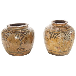Two of a Pair of 19th Century Glazed Asian Pots For Sale