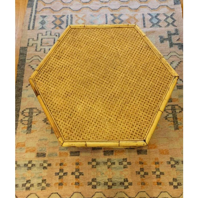 Asian Vintage Mid-Century Boho Chic Rattan Coffee Table For Sale - Image 3 of 7