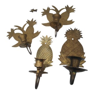 Vintage Solid Brass Pineapple Candle Holders - Set of 4 For Sale