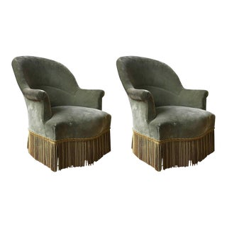 Pair of Napoleon III Rounded Back Armchairs For Sale