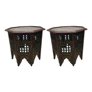 Pair of Moroccan Hand-Painted Dark Green Octagonal Side Tables For Sale