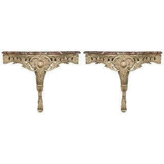 Mid 19th Century Antique French Corner Marble Top Consoles - A Pair For Sale