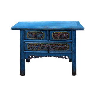 Chinese Vintage 3 Drawers Distressed Blue Side Table Vanity Cabinet