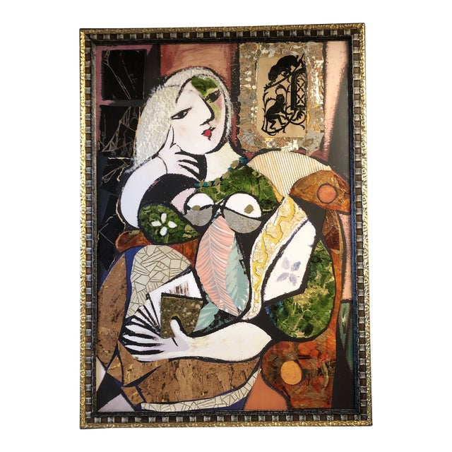 Original Contemporary Large Abstract Modernist Collage Picasso Style Female Reading Framed For Sale