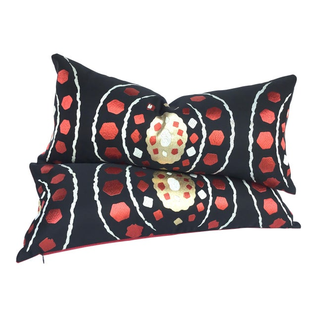 Japanese Abract Obi Pillows - A Pair - Image 1 of 7