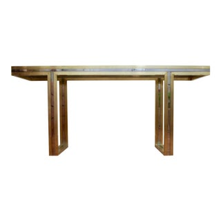 Signed Romeo Rega Brass & Chrome Console Table