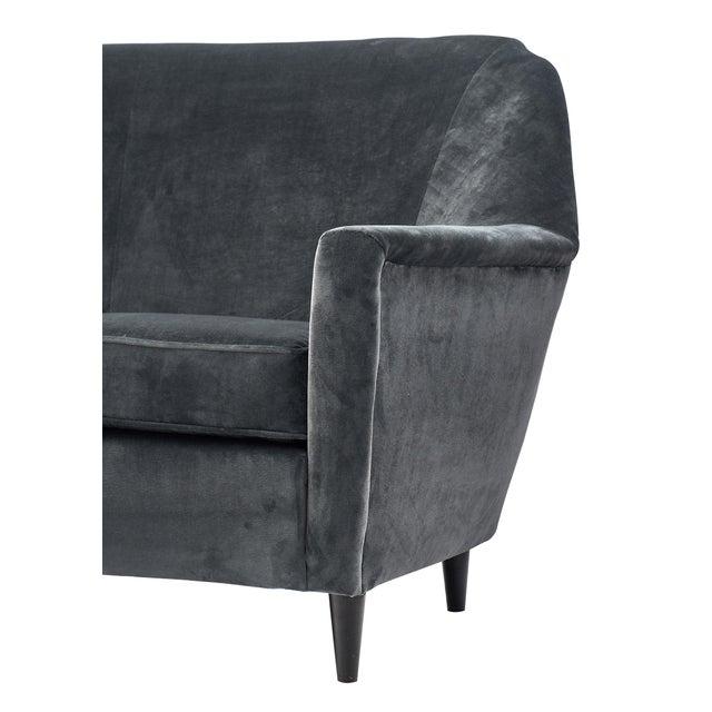 Contemporary Modernist Gray Velvet Sofa For Sale - Image 3 of 10