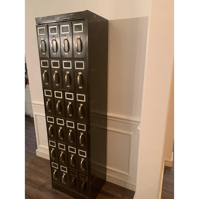 Mid 20th Century Vintage Industrial Filing Cabinet 24 Drawer For Sale - Image 10 of 12