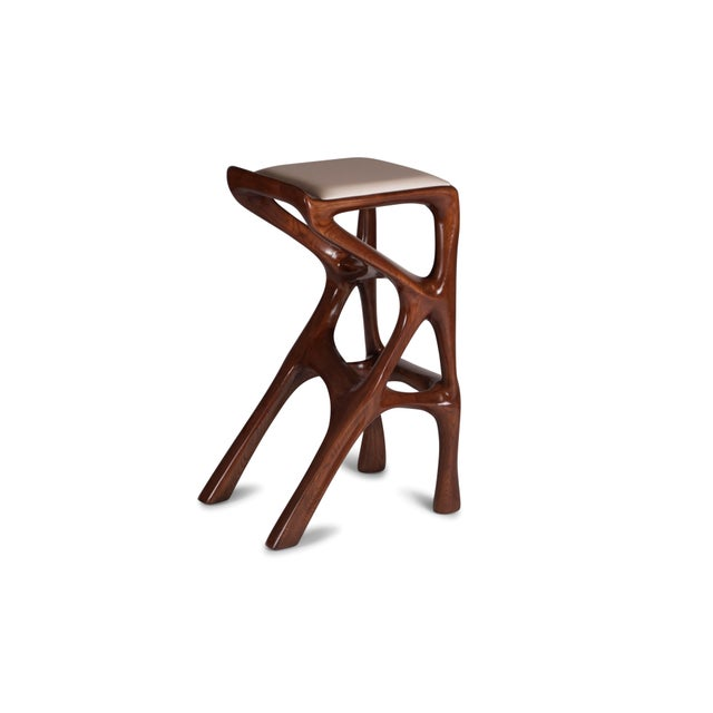 Amorph Chimera Bar Stool, Stained Walnut For Sale - Image 9 of 13