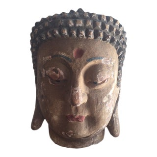 Antique Chinese Wooden Buddha Head For Sale