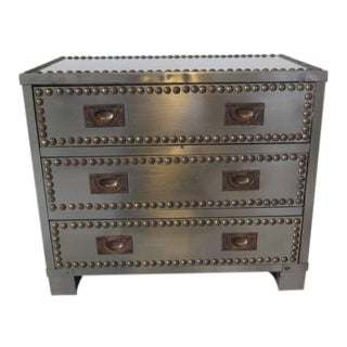 Stainless and brass Studded Jewelry Box For Sale