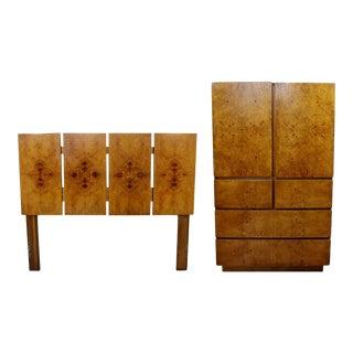 Mid Century Modern Lane Burl Wood Bedroom Set Highboy Dresser Headboard - a Pair For Sale