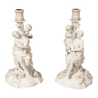 Antique Porcelain Candlestick Holders From Germany - a Pair For Sale