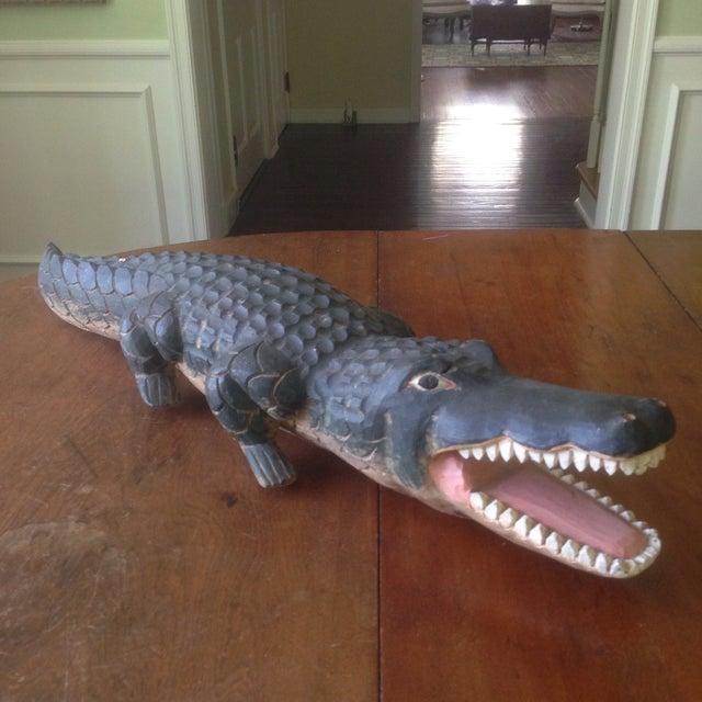 Vintage Carved Wood Folk Art Alligator - Image 2 of 11