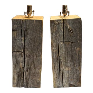 Hewn Salvage Wood Lamps by Laurel Lamp Co. For Sale