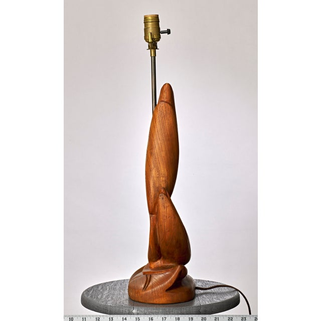 1950s Nouveau Carved Wood Table Lamp For Sale - Image 5 of 8