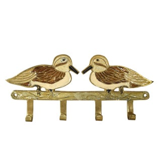 Unique Vintage Solid Brass Inlaid Birds Key Wall Hook Rack Holder For Sale
