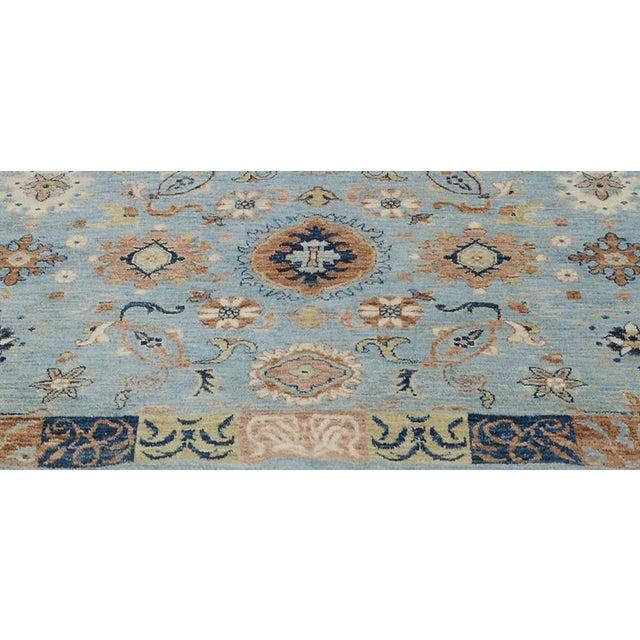 2000 - 2009 Kafkaz Peshawar Reid Blue & Tan Wool Rug - 9'0 X 12'3 For Sale - Image 5 of 7