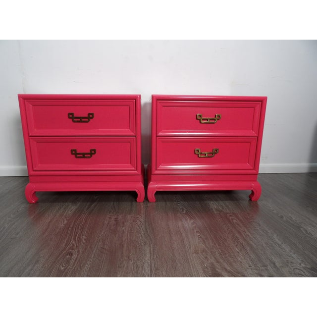 Asian Inspired pair of Mandarin nightstands by Henry Link. This pair have a Chinoiserie Style Brass Pull on each of the...