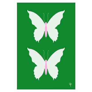 "Medium ""Butterfly White on Green"" Print by Wendy Concannon, 21"" X 31"" Preview"