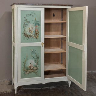 19th Century French Chinoiserie Painted Armoire or Cabinet With Faux Marble Top Preview