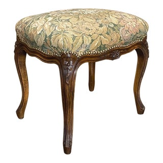 Antique French Fruitwood Louis XV Stool With Tapestry For Sale